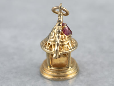 Ornate Gold and Ruby Temple Charm