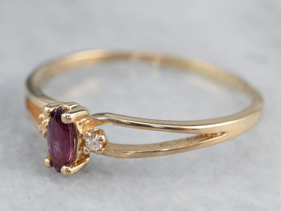 Marquise Ruby and Diamond Ring