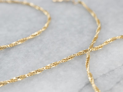 14K Gold Sparkling Wheat Chain Necklace