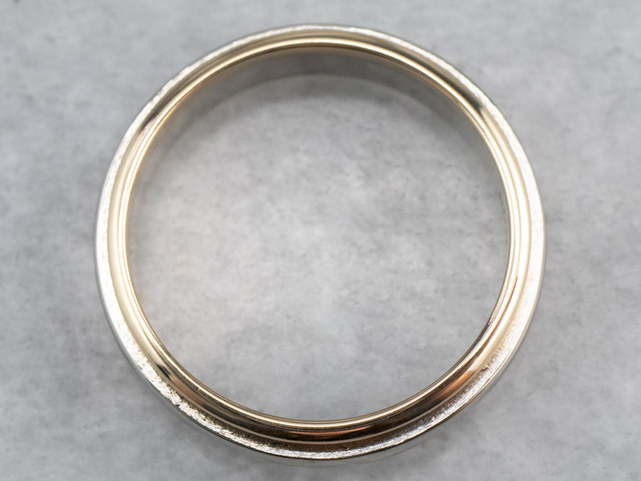 Two Tone 14K Gold Wedding Band