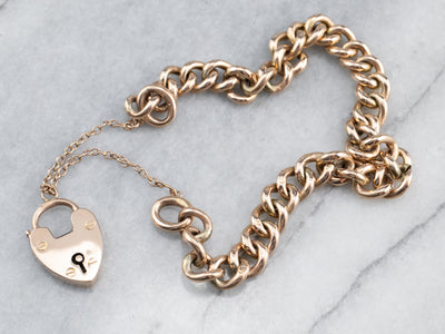 Antique Rose Gold Padlock Chain Bracelet