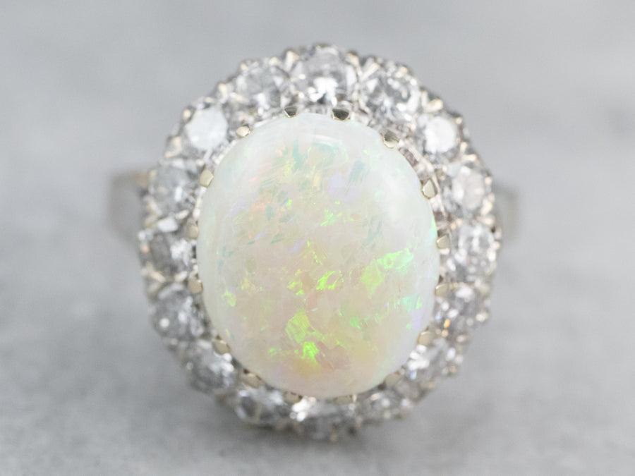 Opal Diamond White Gold Halo Ring