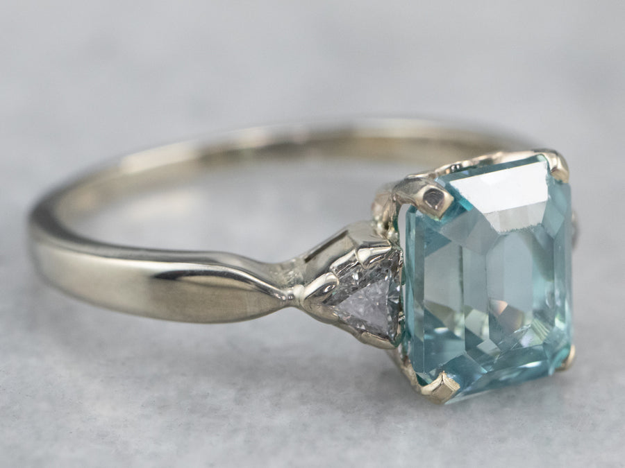 Emerald Cut Blue Zircon Diamond White Gold Ring