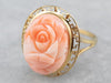 Vintage Carved Coral Rose Ring