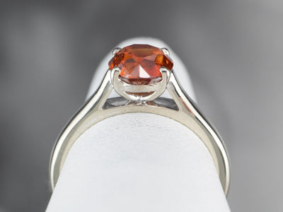 Sleek Orange Zircon Solitaire Ring