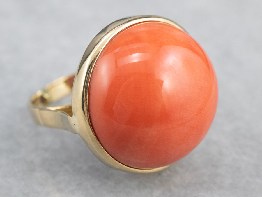 Coral Cabochon Cocktail Ring