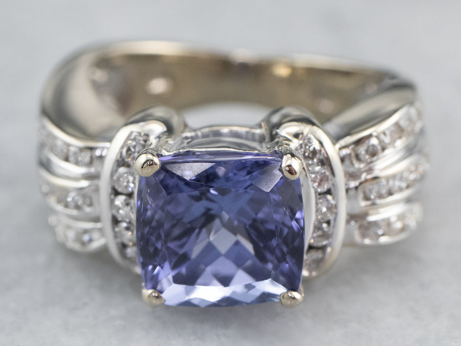 Modern Tanzanite and Diamond Ring