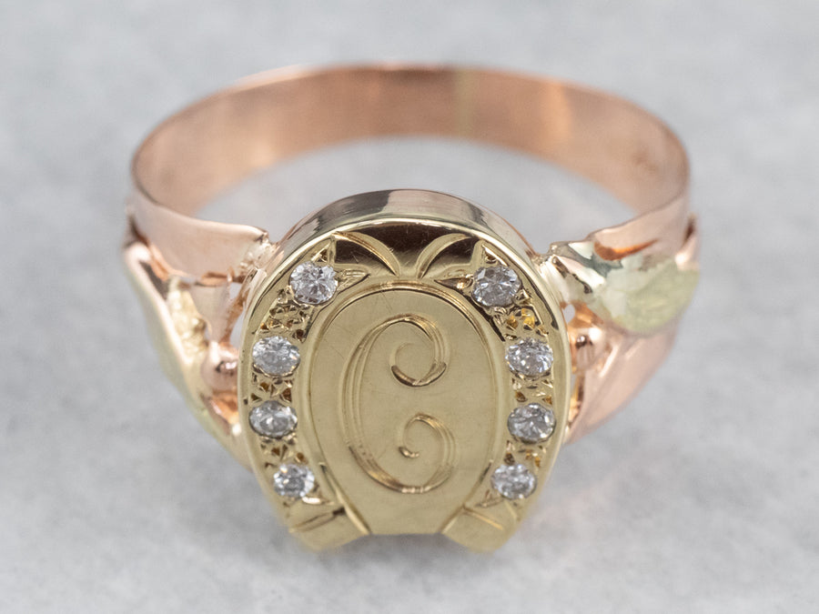 "Good Luck Diamond ""C"" Initial Signet Ring"
