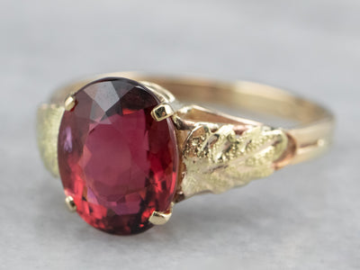 Raspberry Tourmaline Solitaire Ring