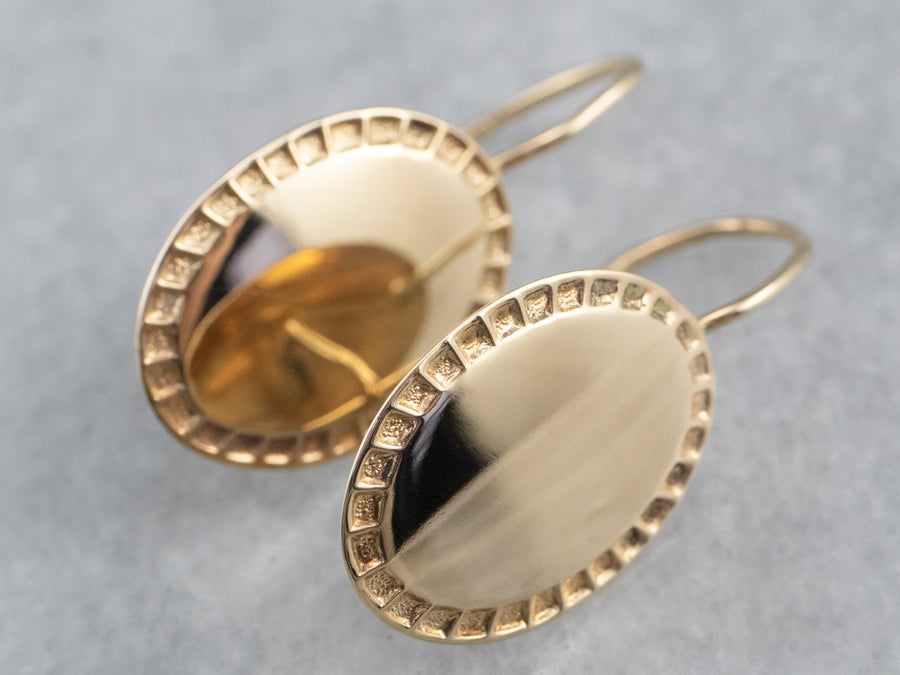Vintage Gold Cufflink Drop Earrings