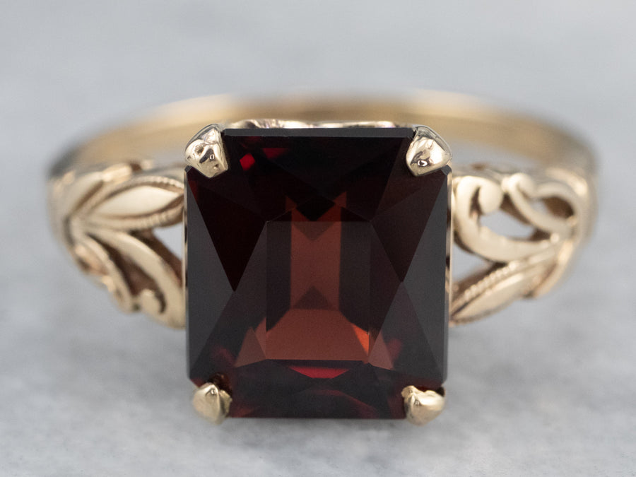 Vintage Garnet Gold Botanical Solitaire Ring