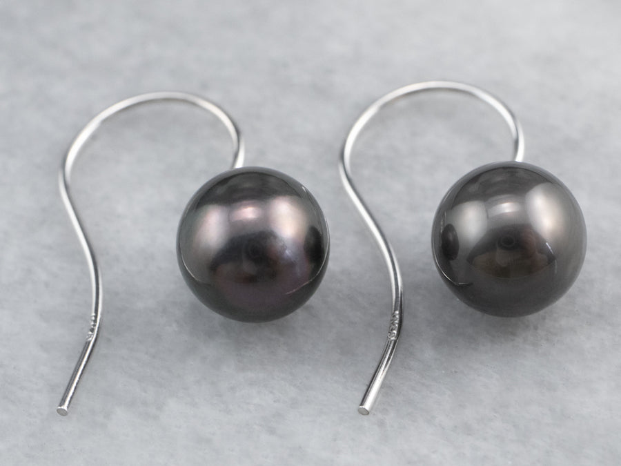 Deep Grey Freshwater Pearl White Gold Drop Earrings