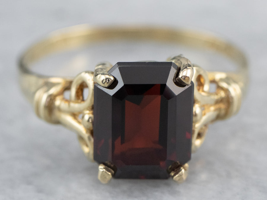 Garnet Gold Solitaire Ring