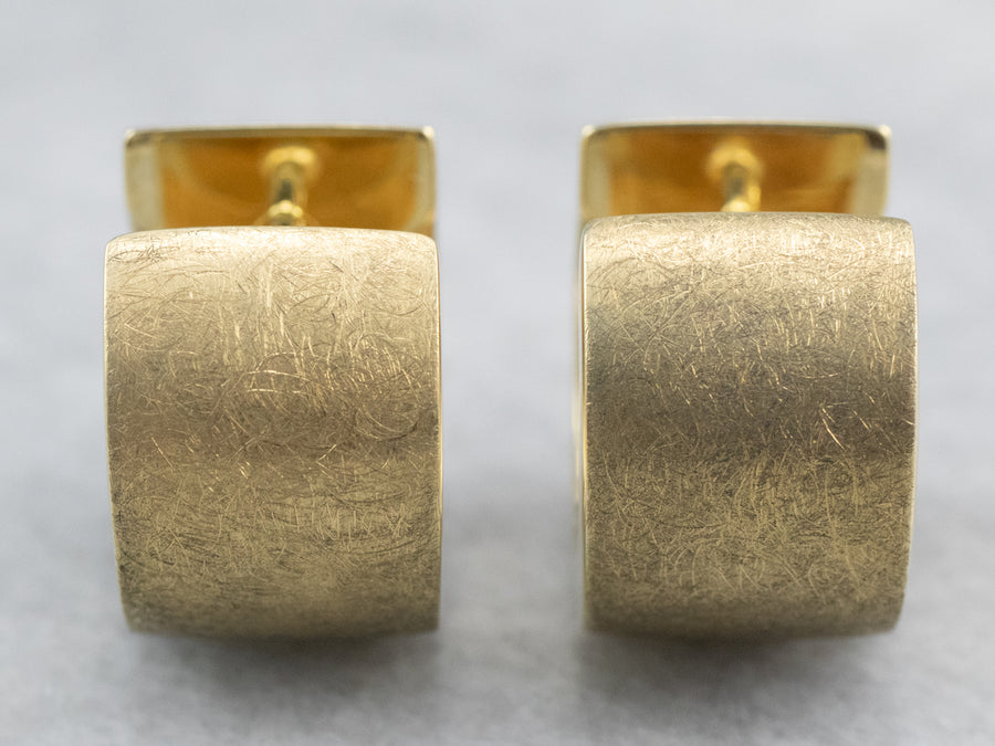 Brushed 14K Gold Huggie Hoop Earrings