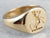 Antique Dog Crest 18K Gold Signet Ring