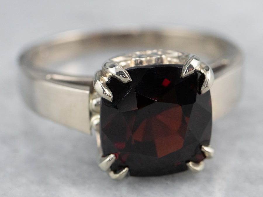 Cushion Cut Garnet White Gold Solitaire Ring