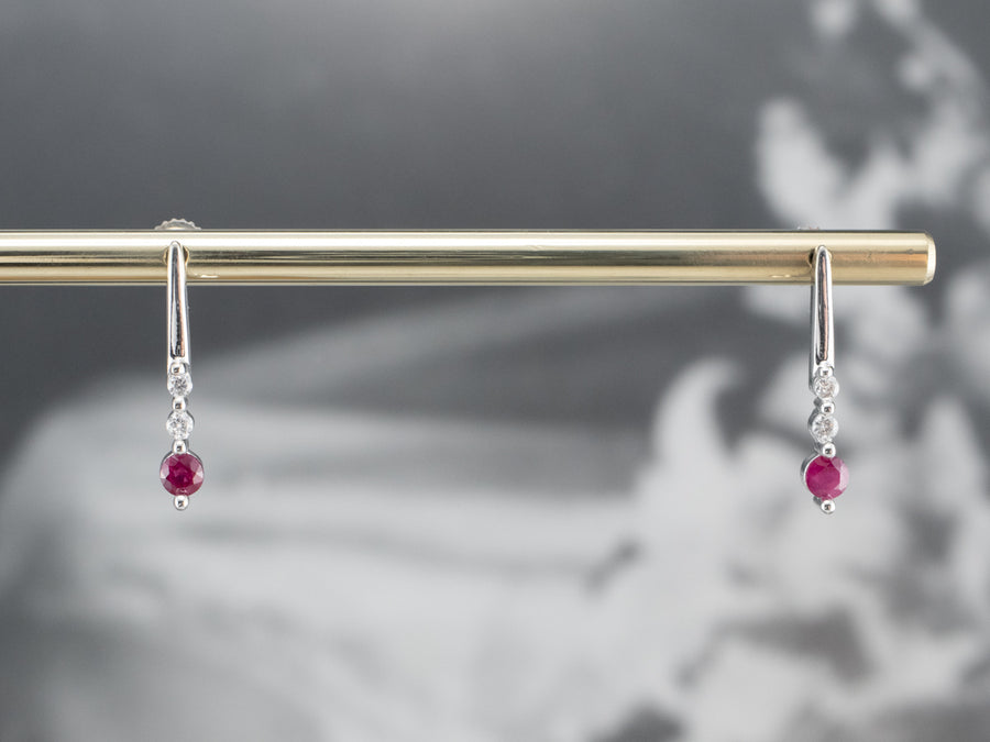 Ruby Diamond White Gold Bar Drop Earrings