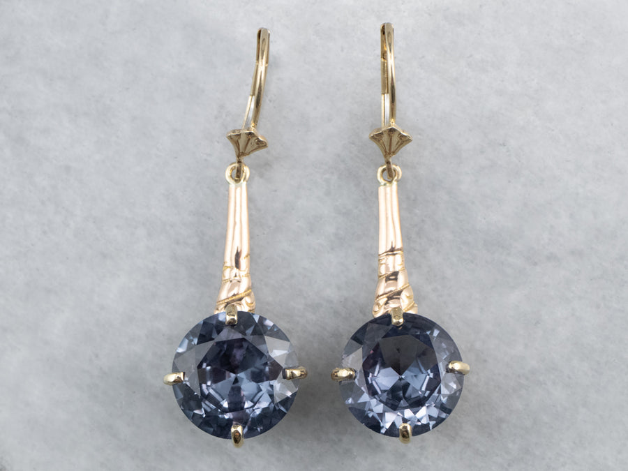 Synthetic Alexandrite Gold Bar Drop Earrings