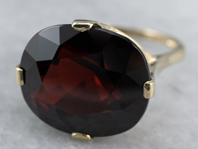 Cushion Cut Garnet Gold Statement Ring