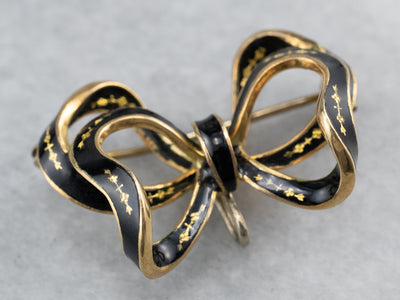 Vintage Black Enamel Gold Bow Brooch
