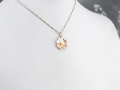 Pearl Four Leaf Clover Rose Gold Pendant