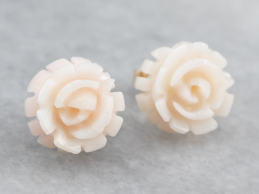 White Carved Coral Stud Earrings