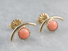 Mid Century Gold Coral Stud Earrings