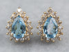 Blue Topaz Diamond Halo Stud Earrings