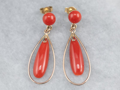 Red Coral and Gold Drop Earrings
