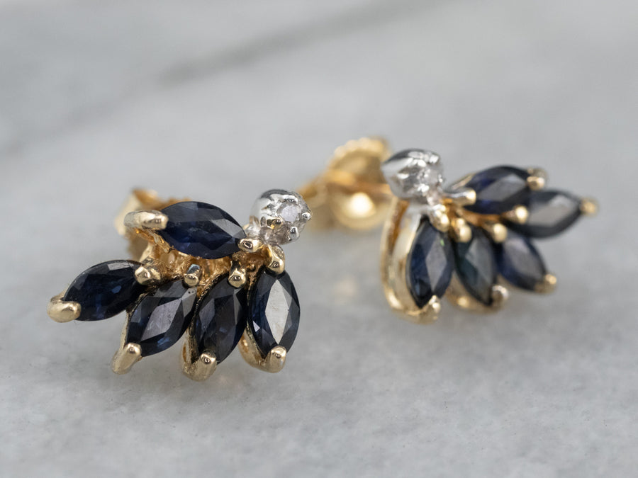 Marquise Sapphire and Diamond Stud Earrings