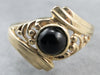Black Onyx Bypass Style Gold Filigree Ring