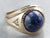 Vintage Lapis Diamond Gold Statement Ring