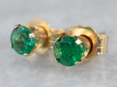 Round Emerald Gold Stud Earrings