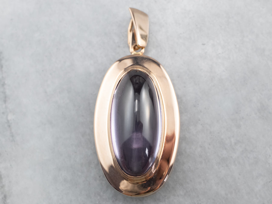 Purple Glass Cabochon Rose Gold Pendant