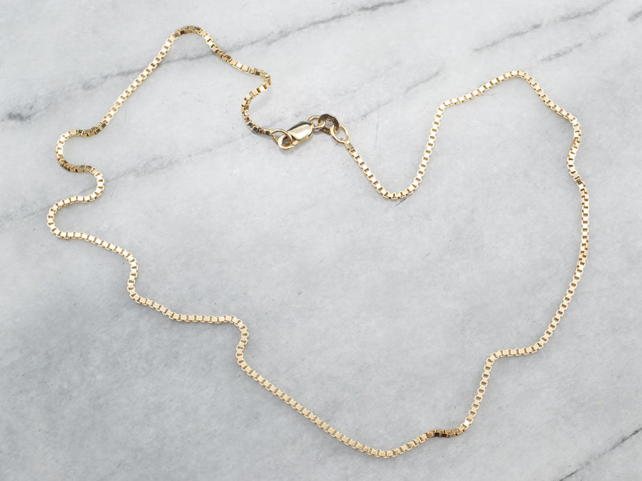 Yellow 14K Gold Box Chain Necklace