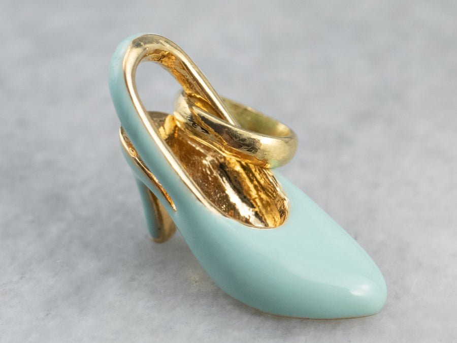 Gold and Enamel High Heel Pendant