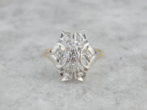 1940's Two Tone Cocktail Dinner Ring Diamond