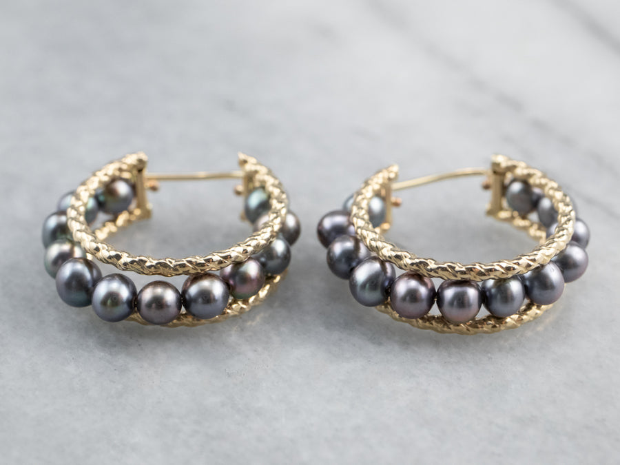 Gold Black Pearl Hoop Earrings