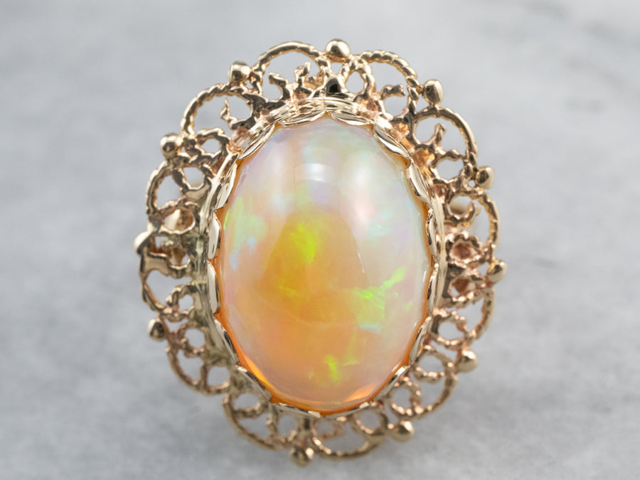 Vintage Gold Opal Cocktail Ring