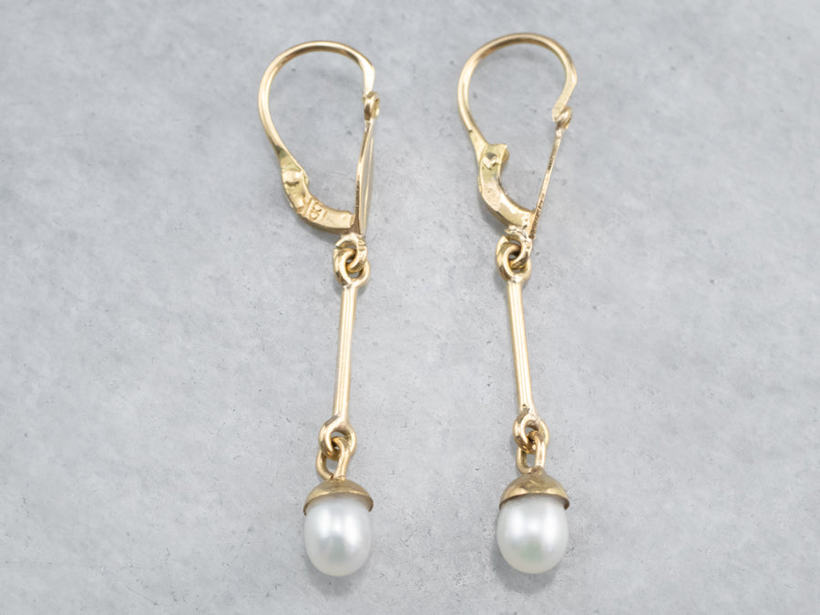 Swinging Pearl Dangle Drop Earrings