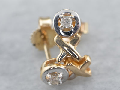 Diamond X and O Stud Earrings