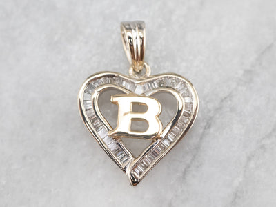 "Baguette Diamond ""B"" Heart Pendant"
