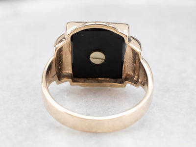 "Vintage ""F"" Onyx and Enamel Signet Ring"