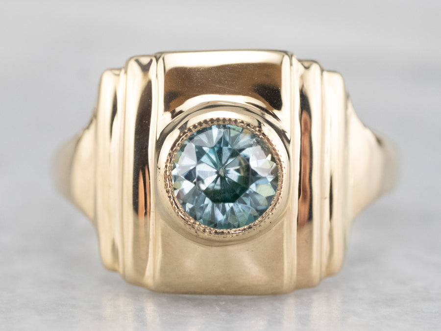 Retro Blue Zircon Solitaire Ring