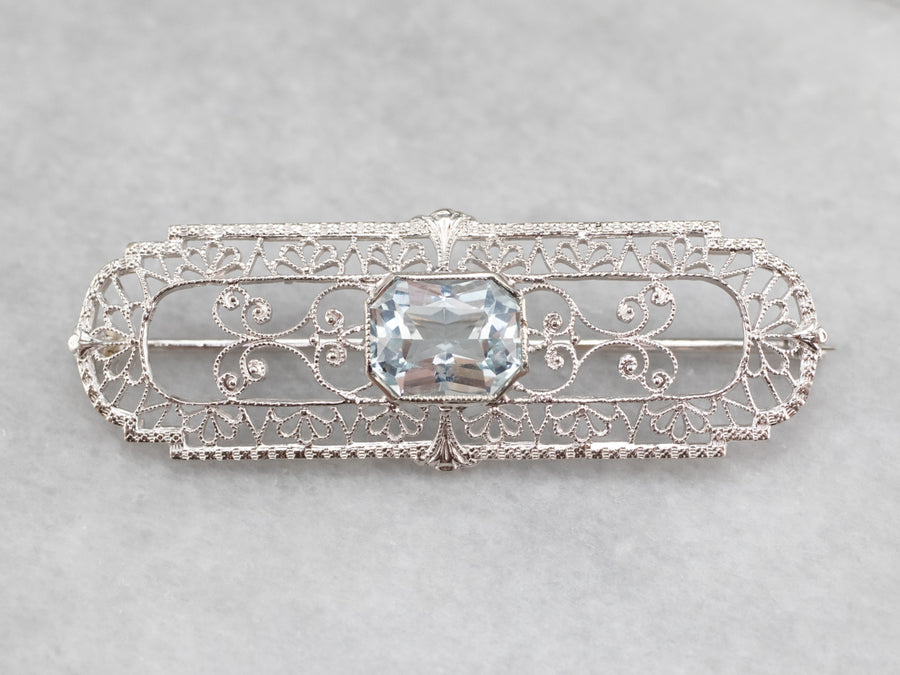 Art Deco Era Aquamarine Filigree Brooch