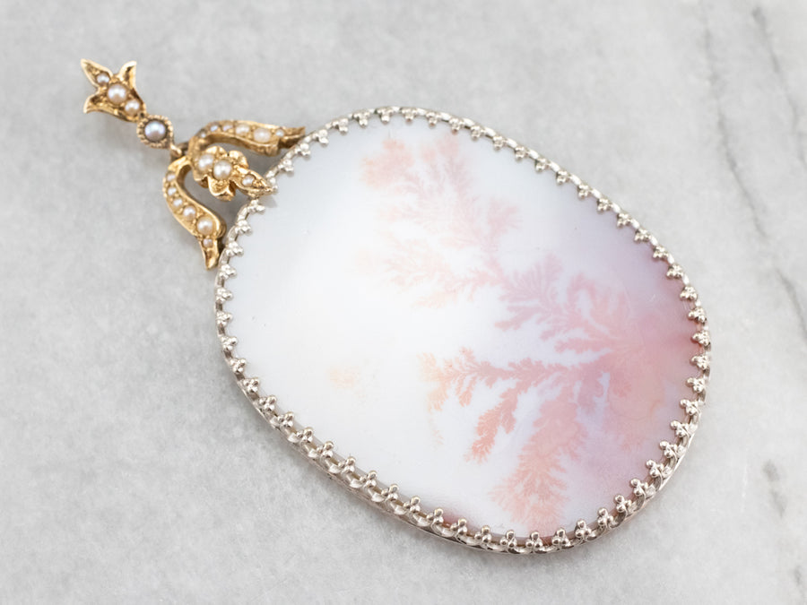 Dendritic Agate and Seed Pearl Pendant