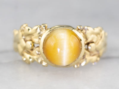 Botanical Themed Antique Tiger's Eye Ring