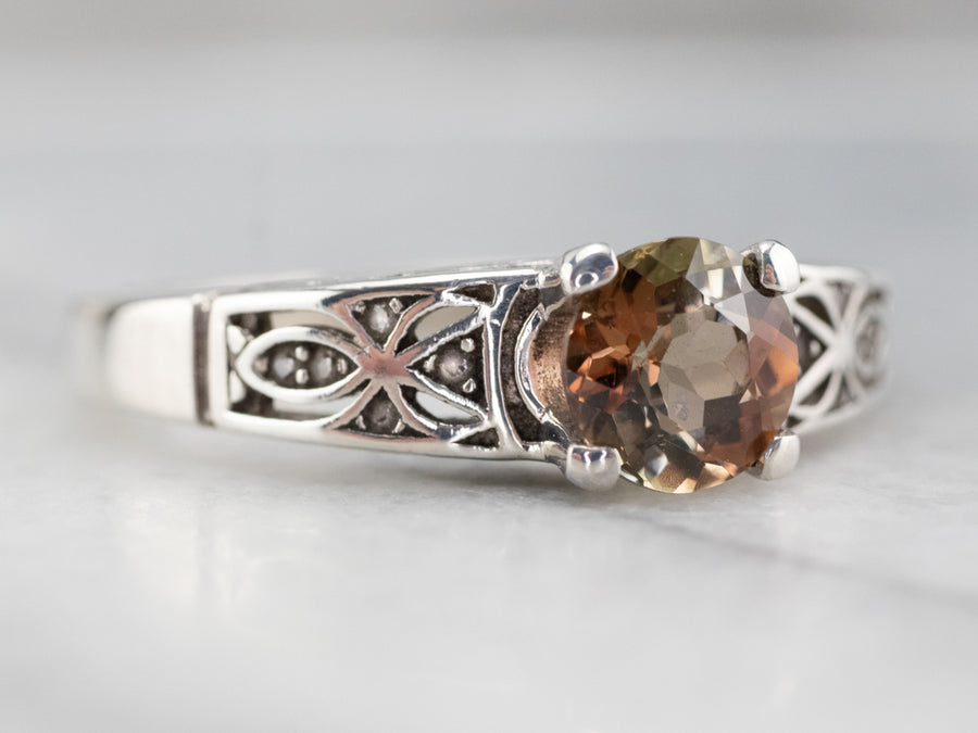 Sterling Silver Andalusite and Diamond Ring