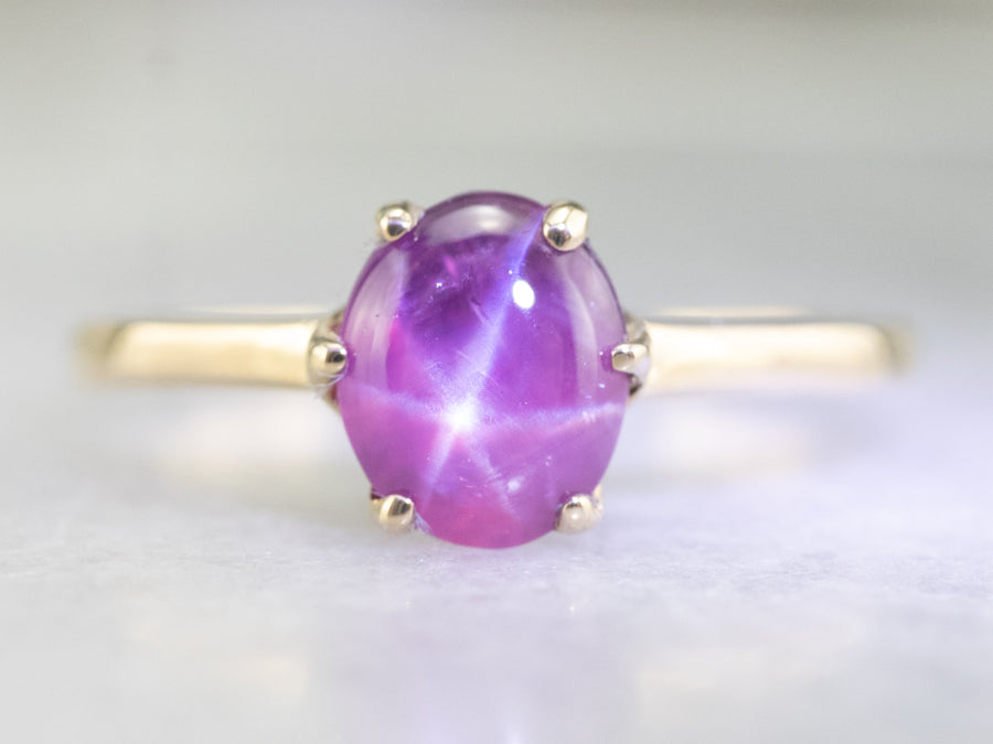 Vintage Star Ruby Solitaire Ring