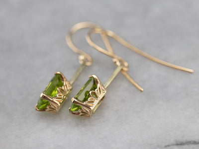 Peridot and Gold Drop Earrings